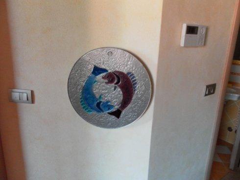 piatto decorativo in vetro, piatto decorativo in cristallo