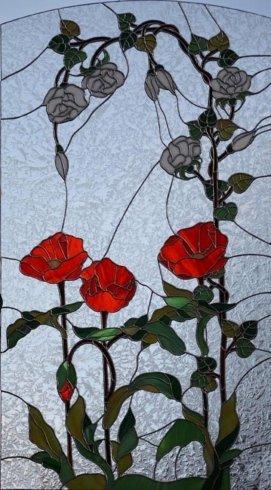 vetro con figure floreali, complementi arredo in vetro