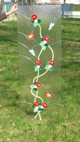 porta con motivi floreali, vetro con motivi floreali