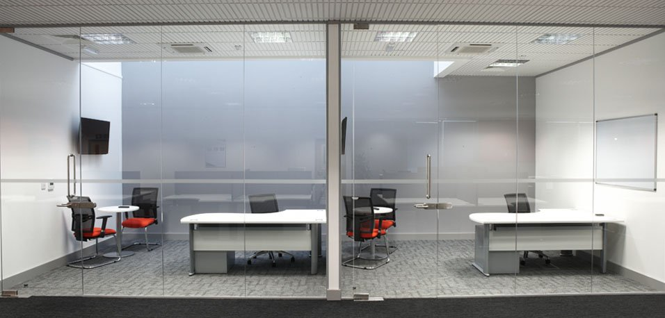 frosted glass meeting rooms