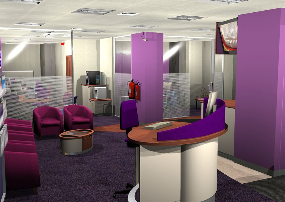 purple themed office space