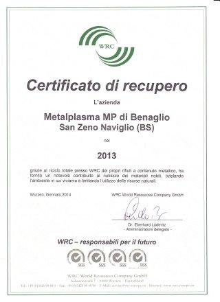 2013 CERTIFICATION