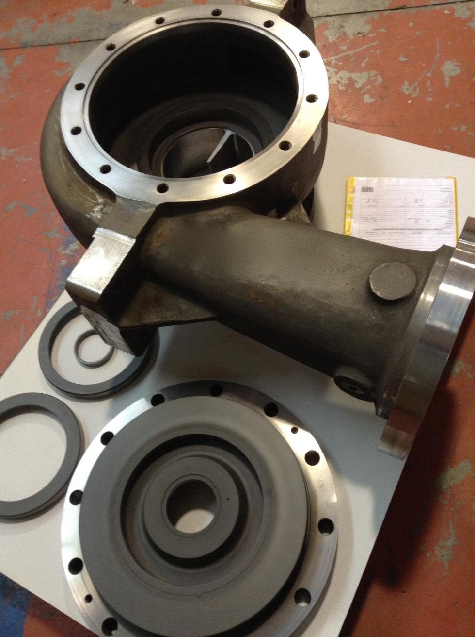 Coated pump body case and rings