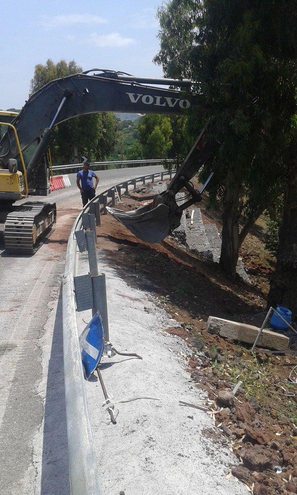 una scavatrice al lavoro vicino a un albero in una strada con un guard rail