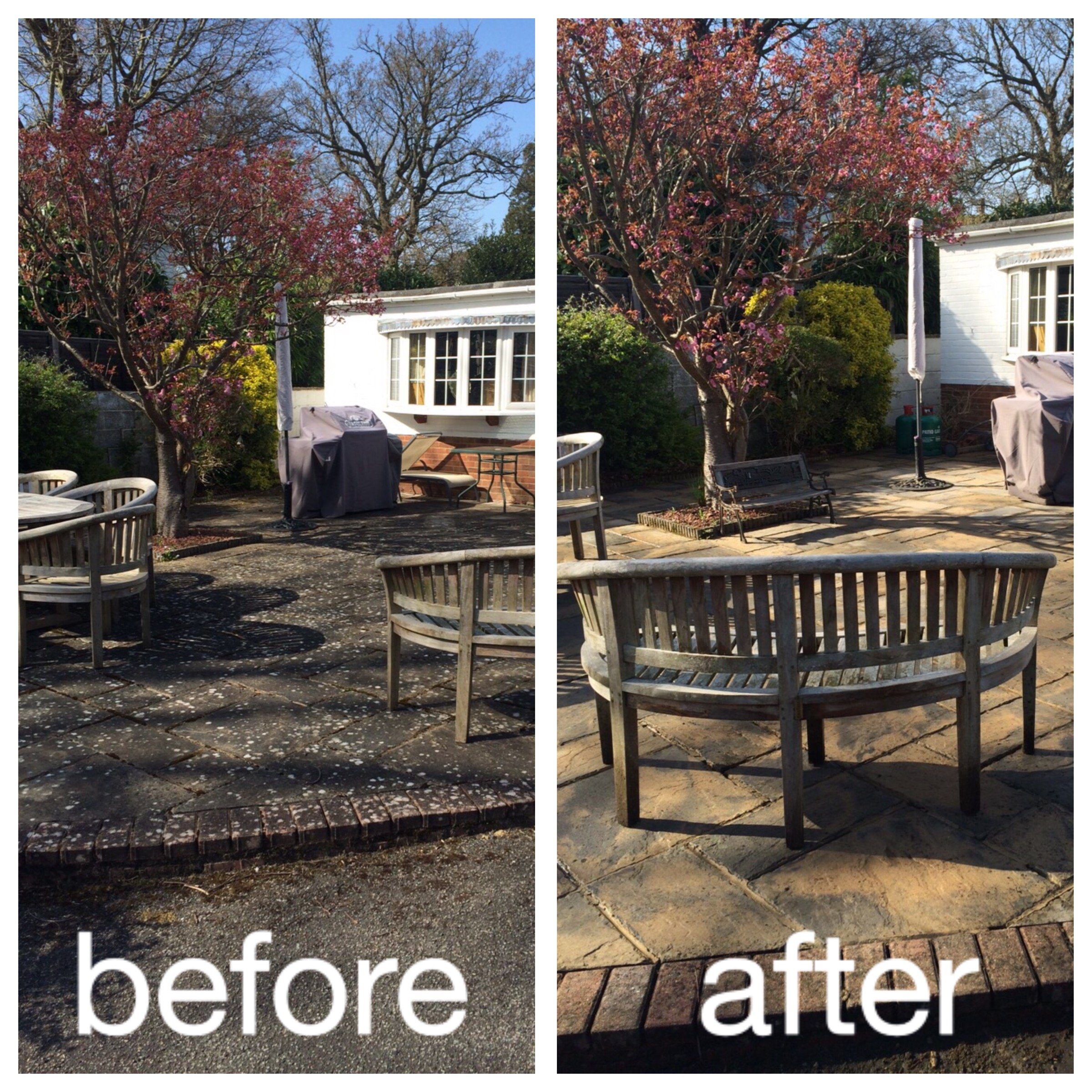before and after garden area cleaning