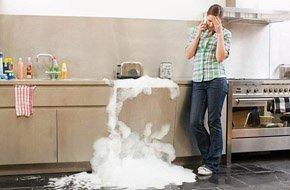 Broken dishwasher and upset woman