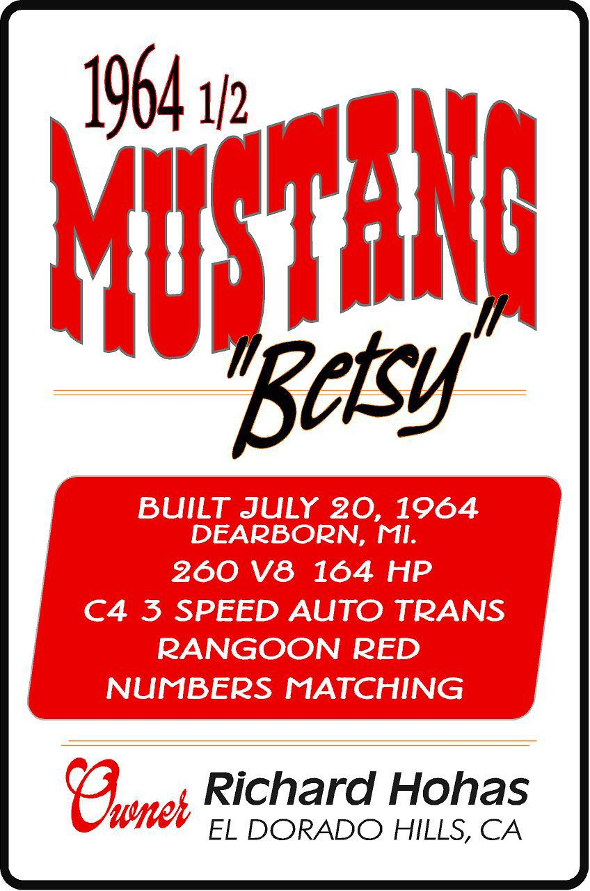 ford mustang car show sign