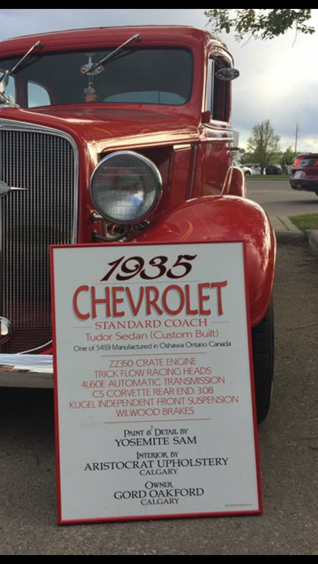 1935 Chevy Truck Car Show Sign