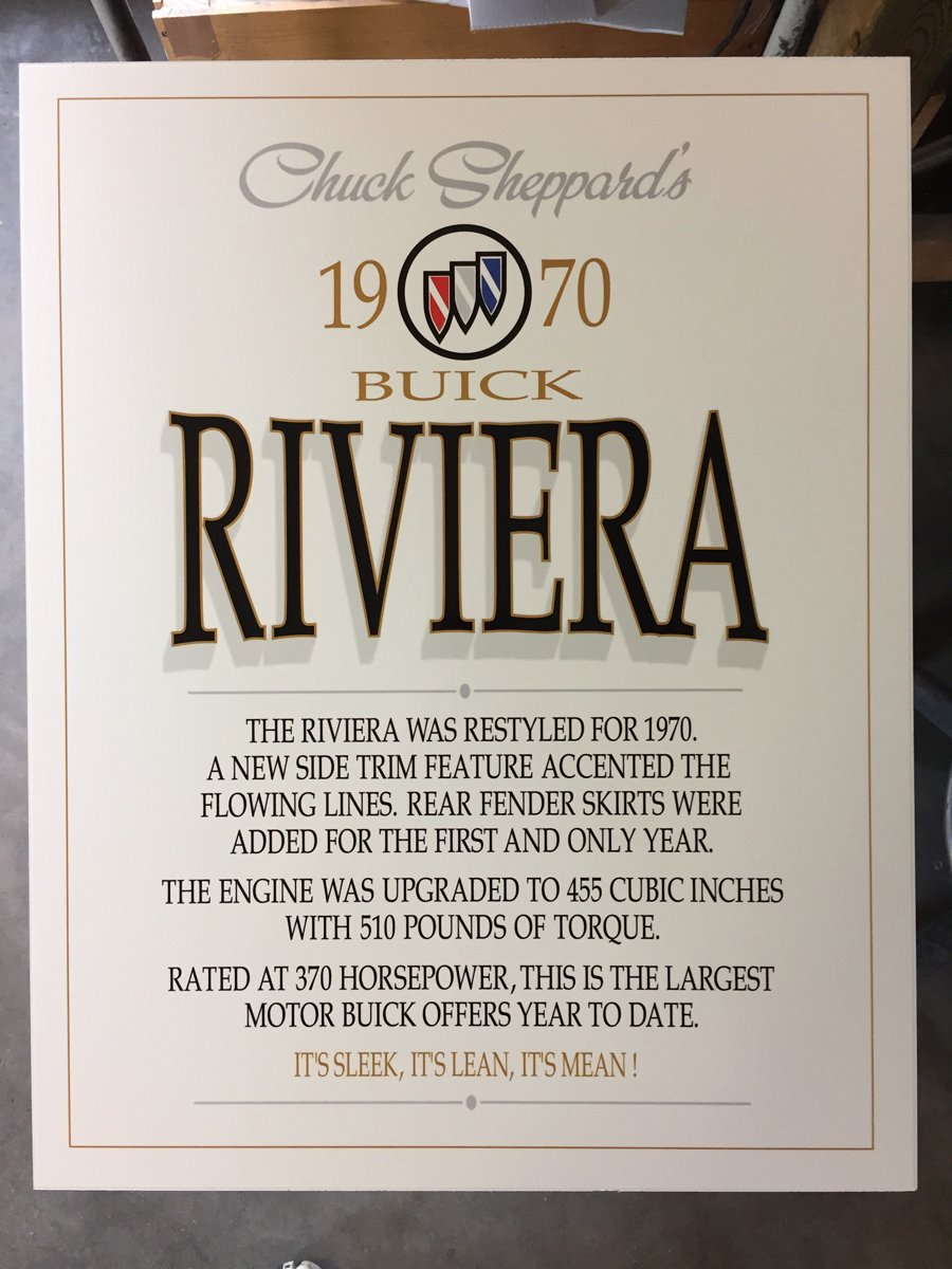 1970 Buick Riviera Show Sign