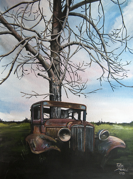 vintage rusty car painting