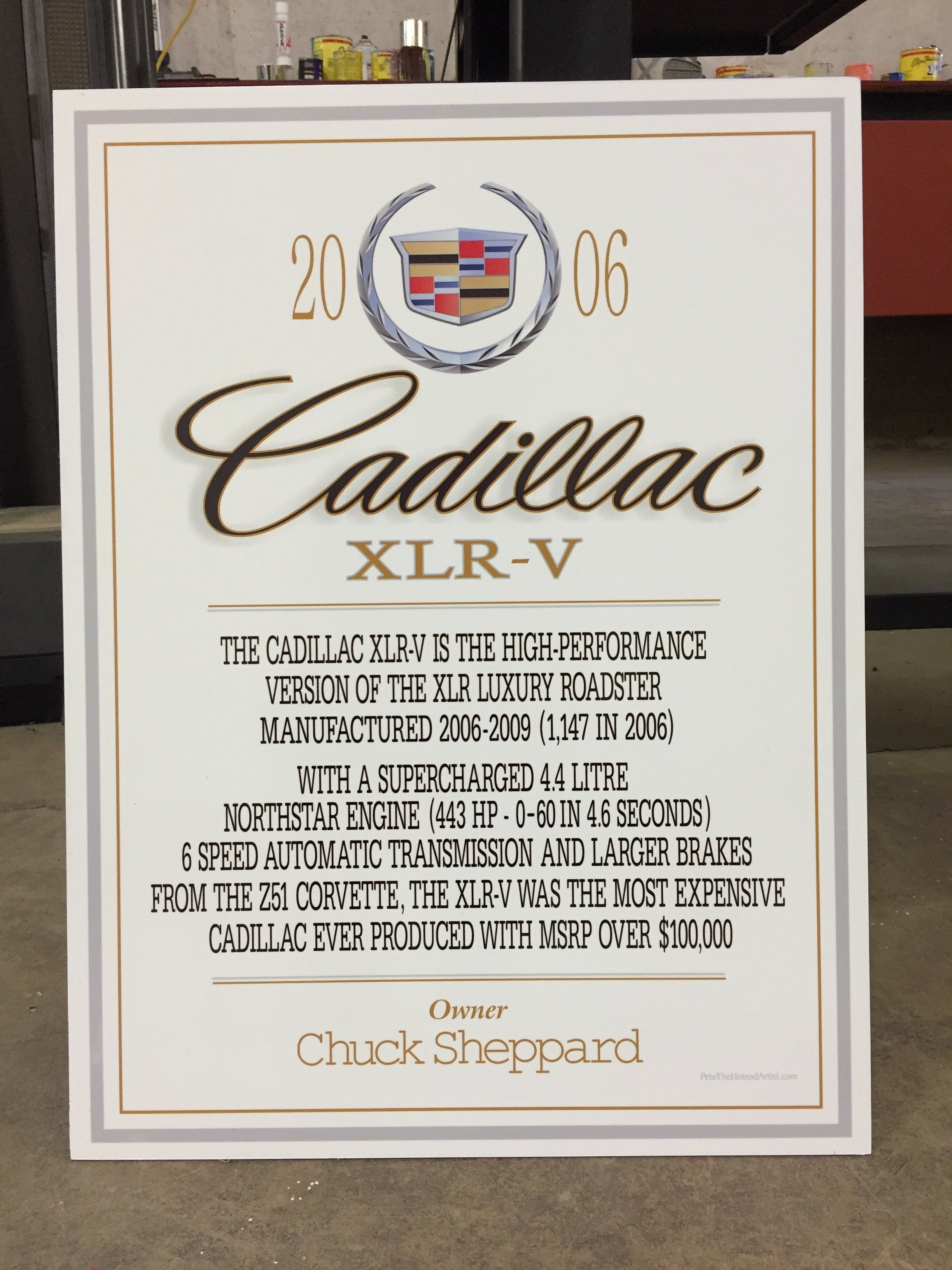 2006 Cadillac car sign
