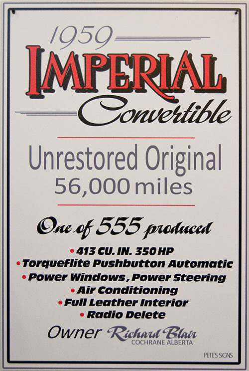 imperial car show sign