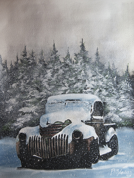 vintage car in winter art