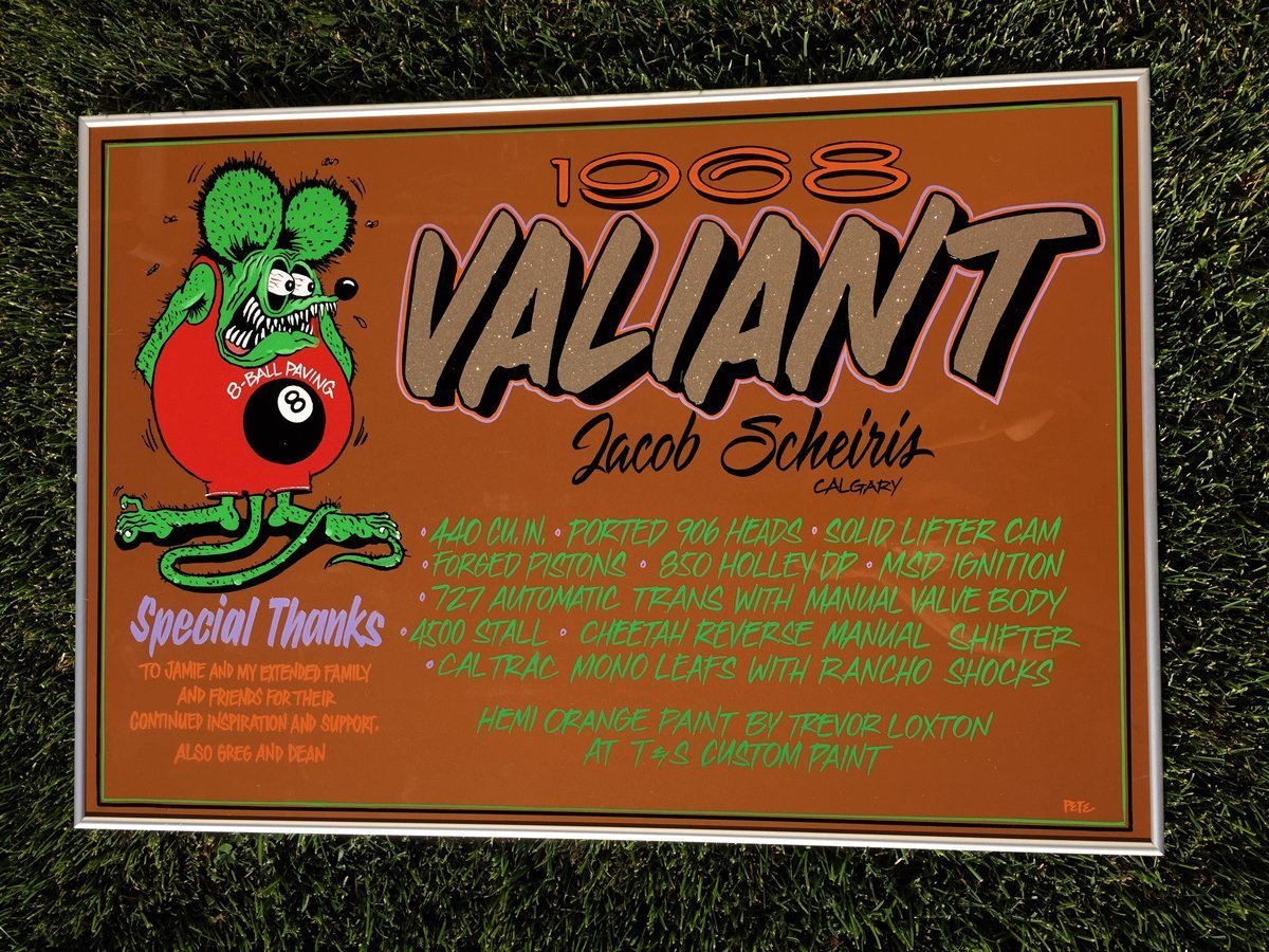 1968 Valiant Car Show Sign