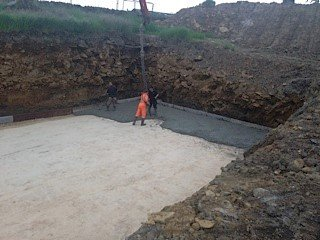 Building foundations being laid