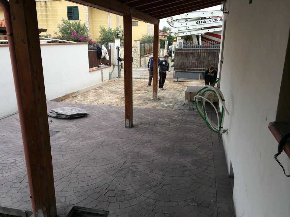 Pavimentazione in pavè di una veranda