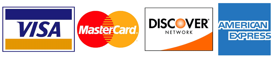We accept Visa, Mastercard, Discover, American Express