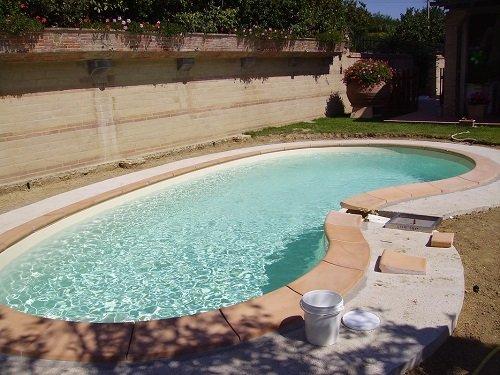 una piscina curva in un giardino di una villa