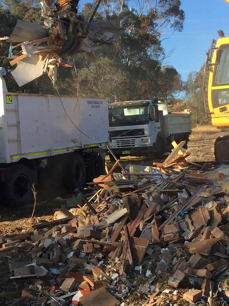 pile of demolition materials