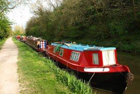 Red canal boat