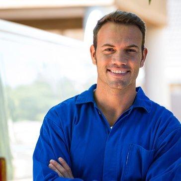 repair man smiling