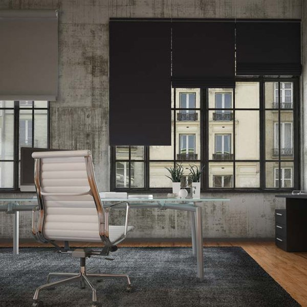 blackout blinds partially drawn in an office space