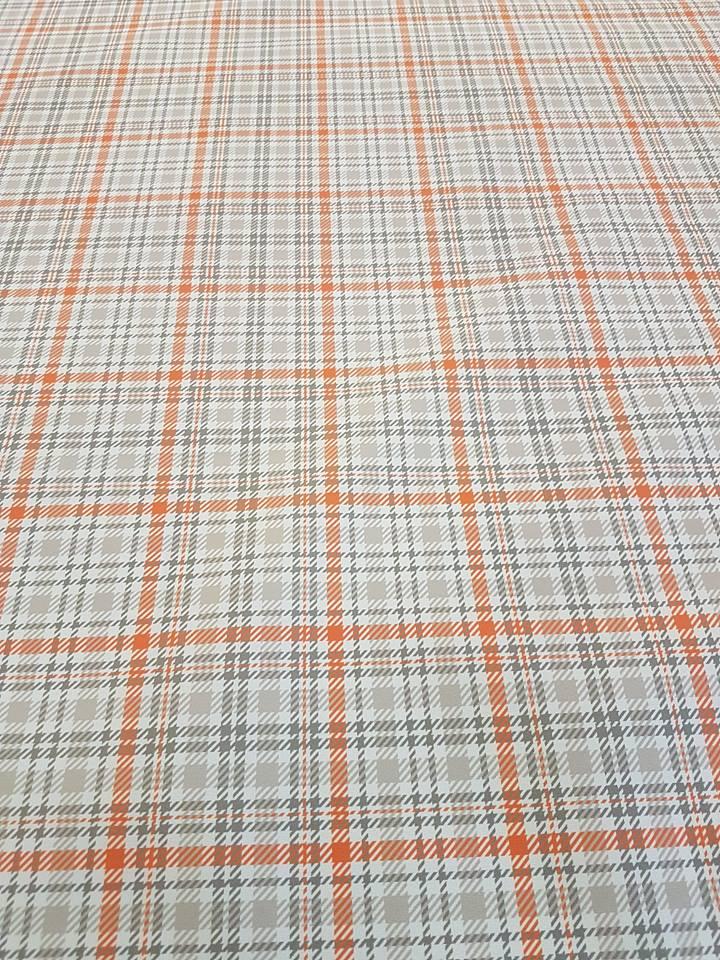 orange and grey gingham blinds