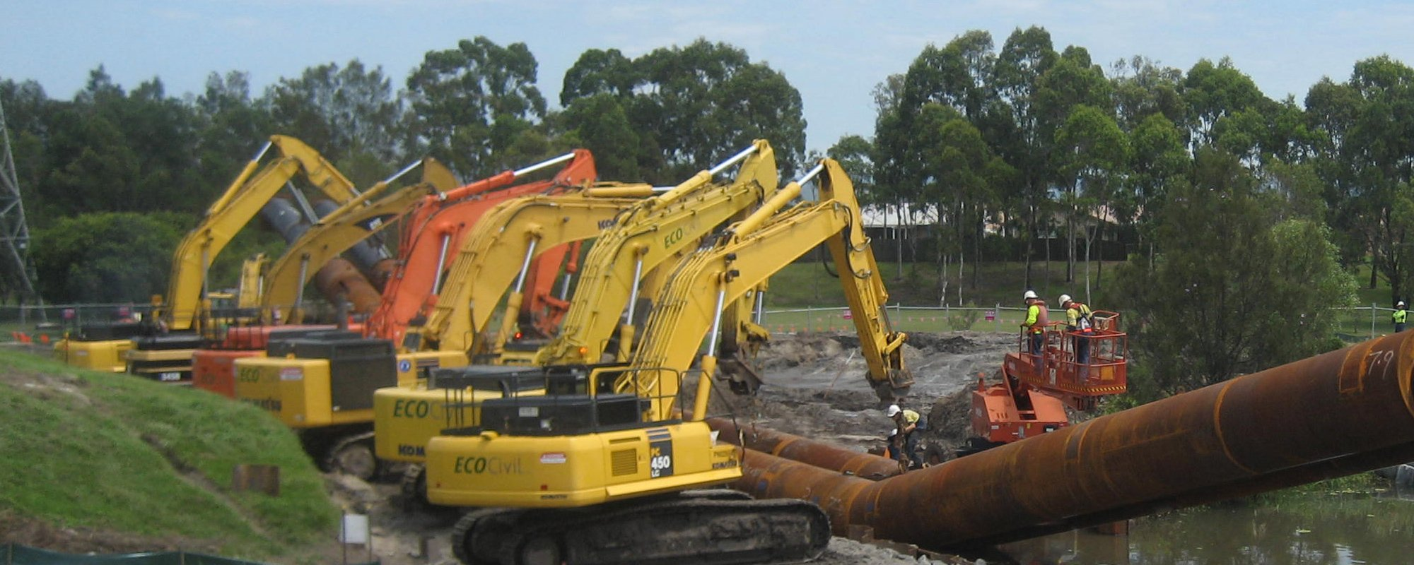 Machines being used at the project site