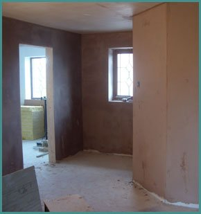 A freshly plastered room