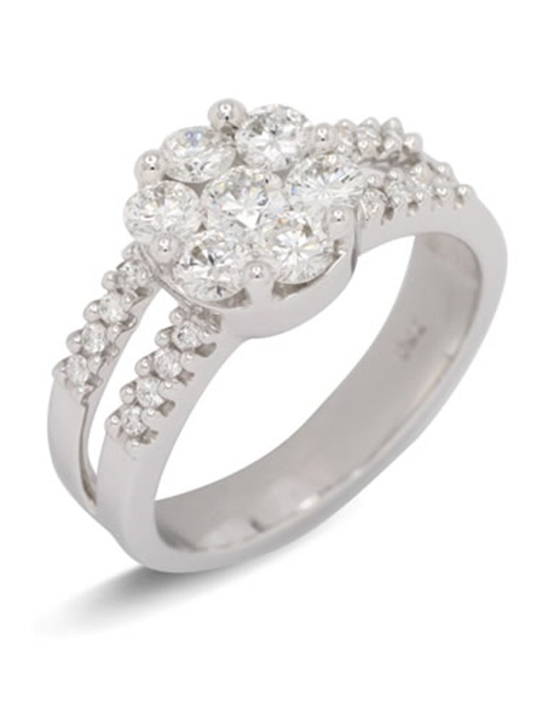 girls love pearls diamond cluster split shoulder ring
