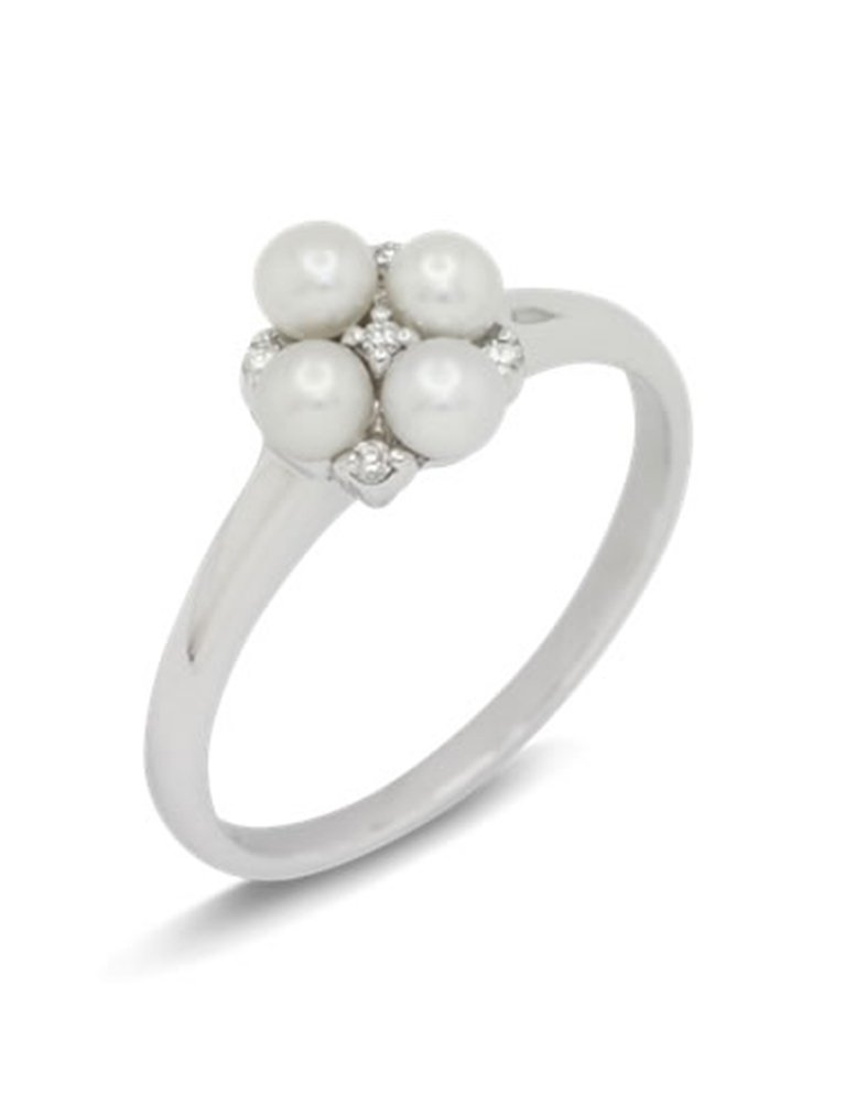 girls love pearls four pearl five diamond cluster ring