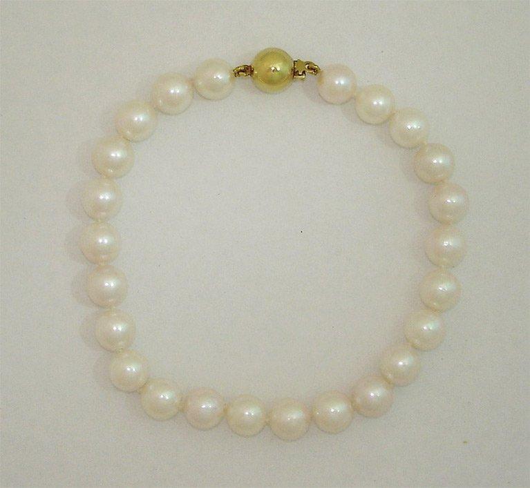 girls love pearls gold clasp akoya cultured pearl bracelet