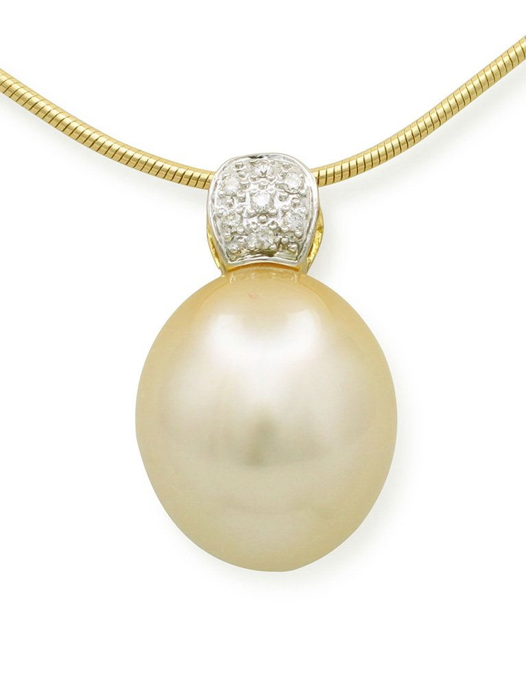 girls love pearls gold pearl cushion pave bail pendant
