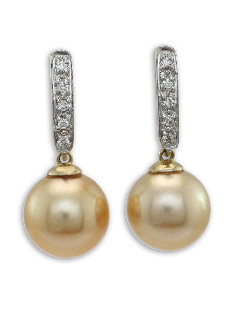 girls love pearls gold south sea round pearls diamond drop stud earrings