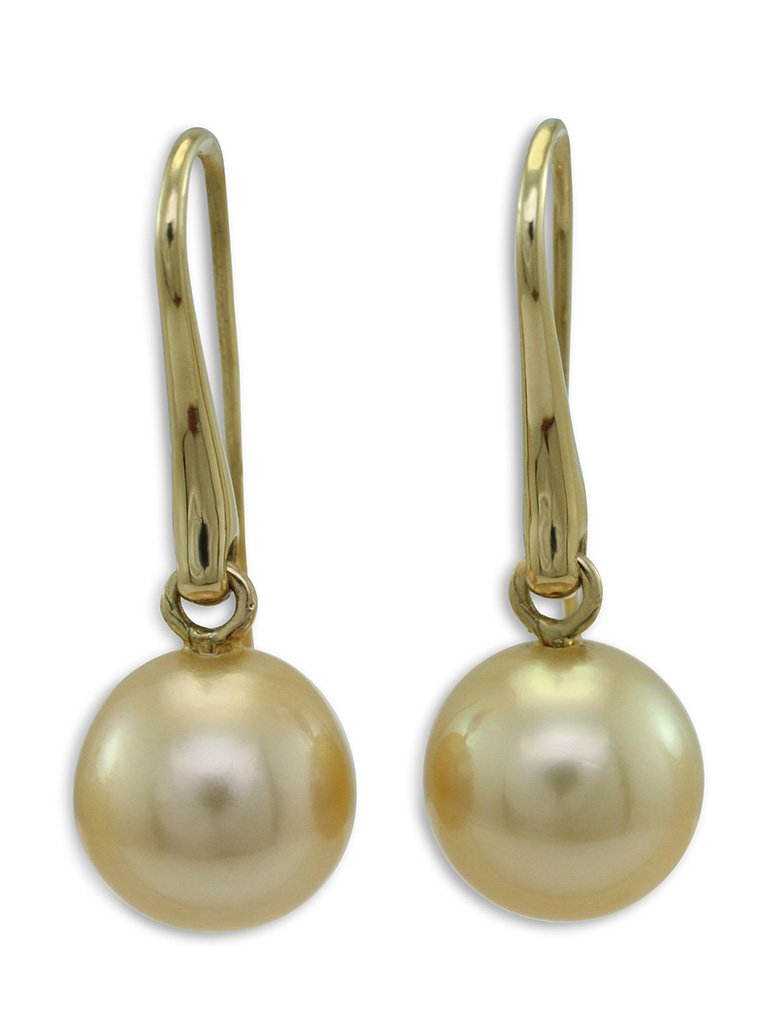 girls love pearls gold south sea semi round pearl long drop hook earrings