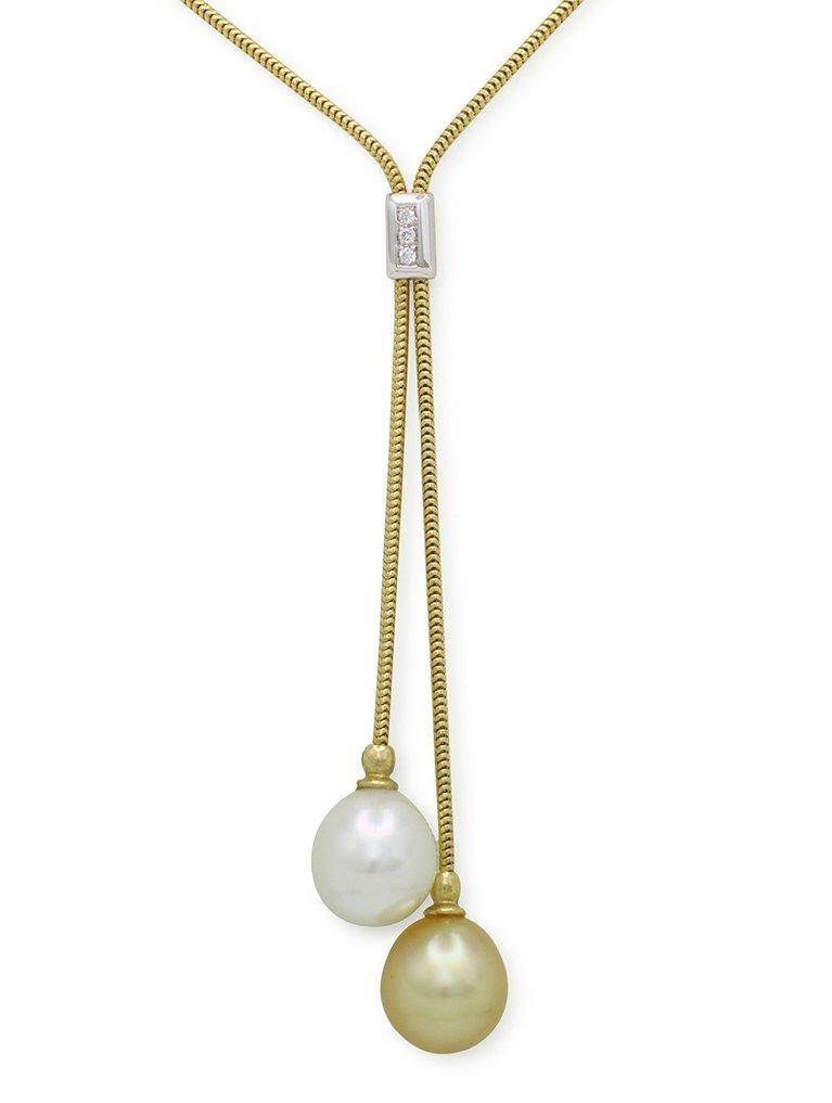girls love pearls gold white pearl diamond lariette pendant