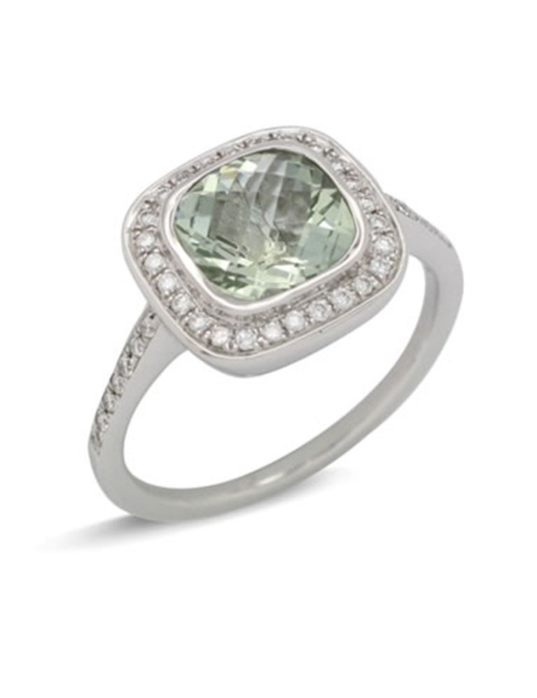 girls love pearls green quartz diamond cushion cluster ring