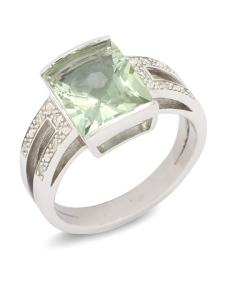 girls love pearls green quartz diamond split shoulder ring