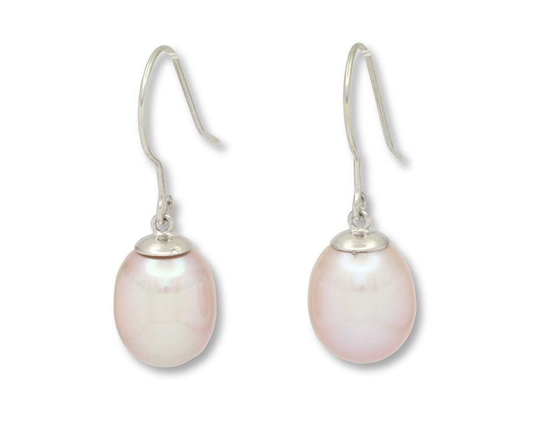girls love pearls pink fresh water pearl white gold fine wire drop earrings