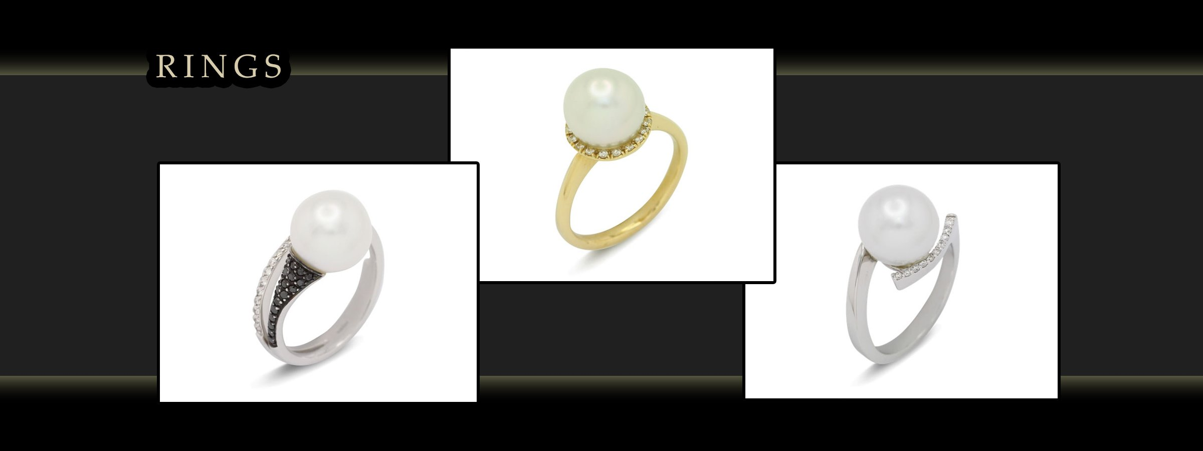 girls love pearls rings with white and yellow gold images
