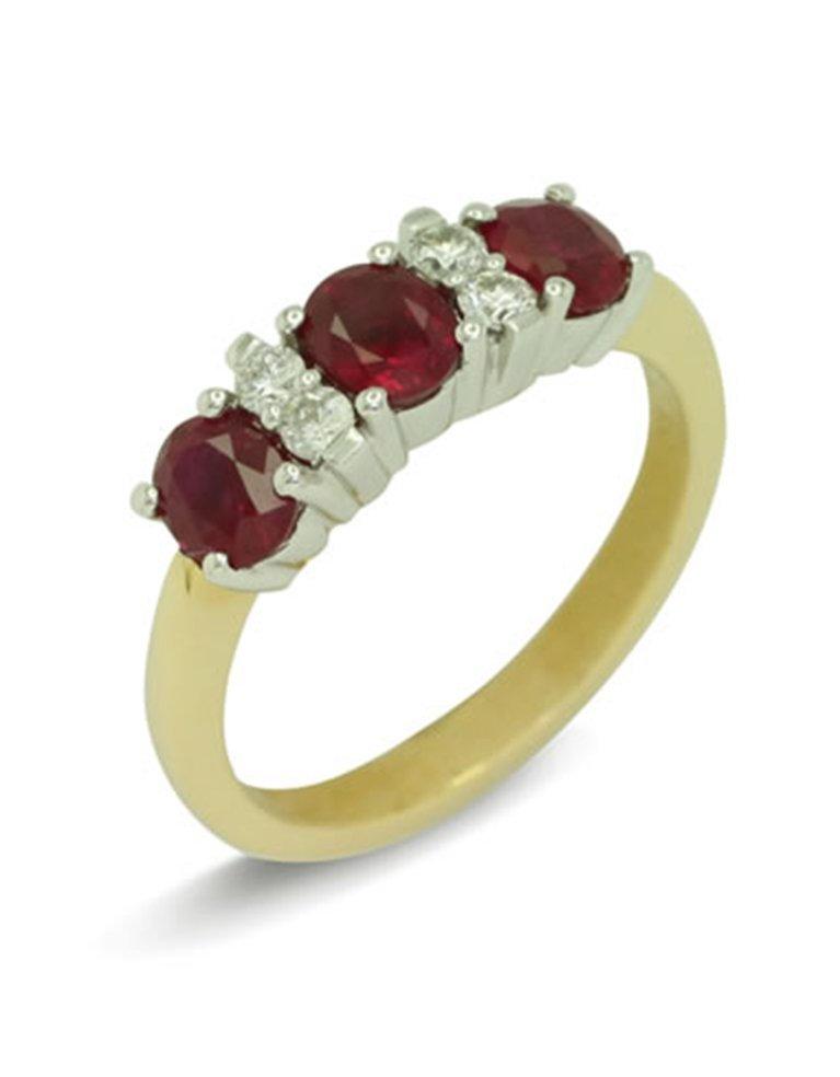 girls love pearls ruby diamond three stone ring
