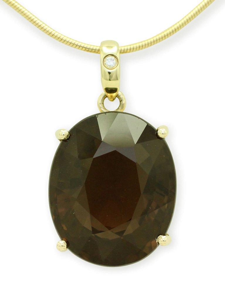 girls love pearls smokey quartz oval pendant
