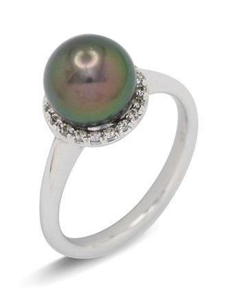 girls love pearls tahitian diamond cluster ring