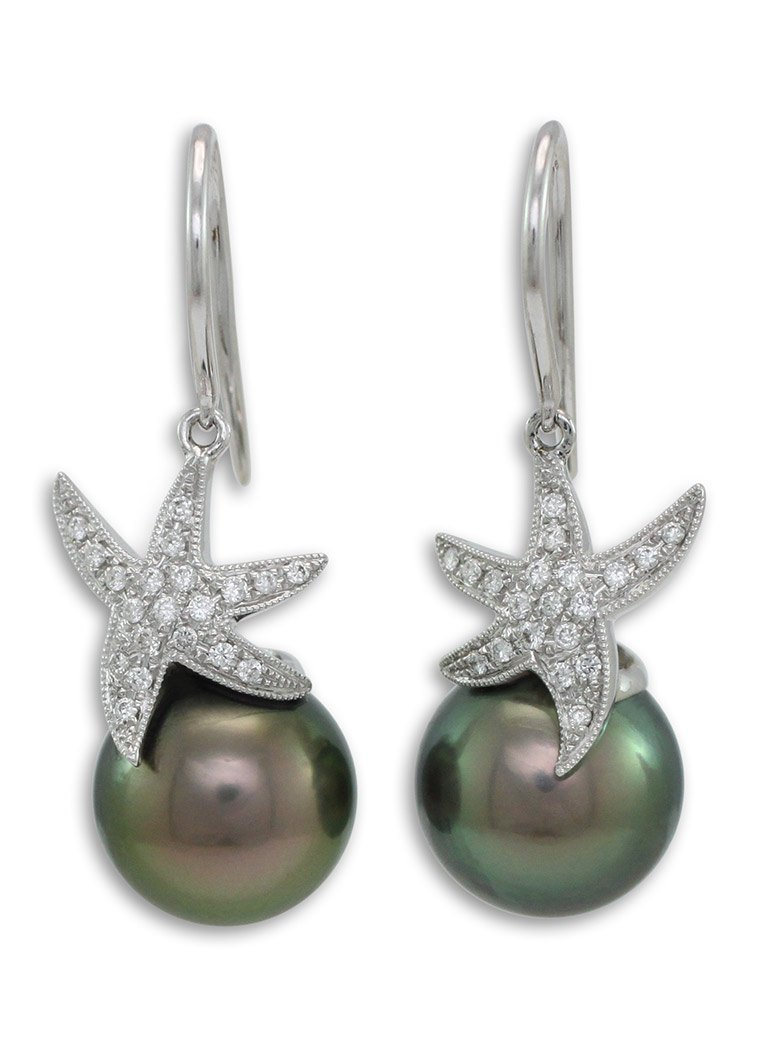girls love pearls tahitian south sea diamond set star fish