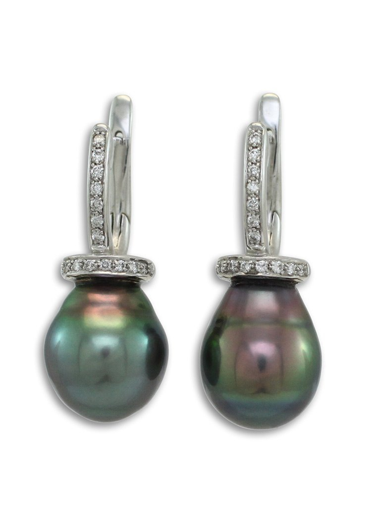 girls love pearls tahitian south sea pearl diamond huggie bezel flip back earrings
