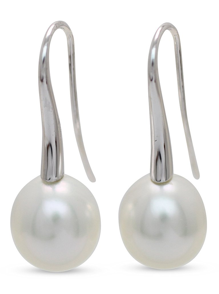 girls love pearls white drop south sea pearl long swan neck hook drop earrings