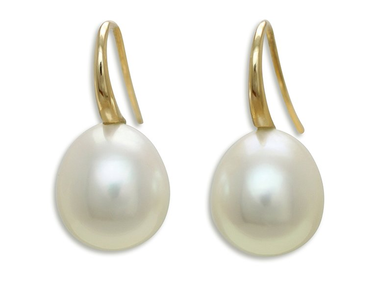 girls love pearls white drop south sea pearl swan neck drop hook earrings