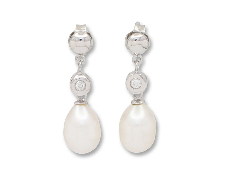 girls love pearls white fresh water pearl cubic zirconia button stud drop earrings