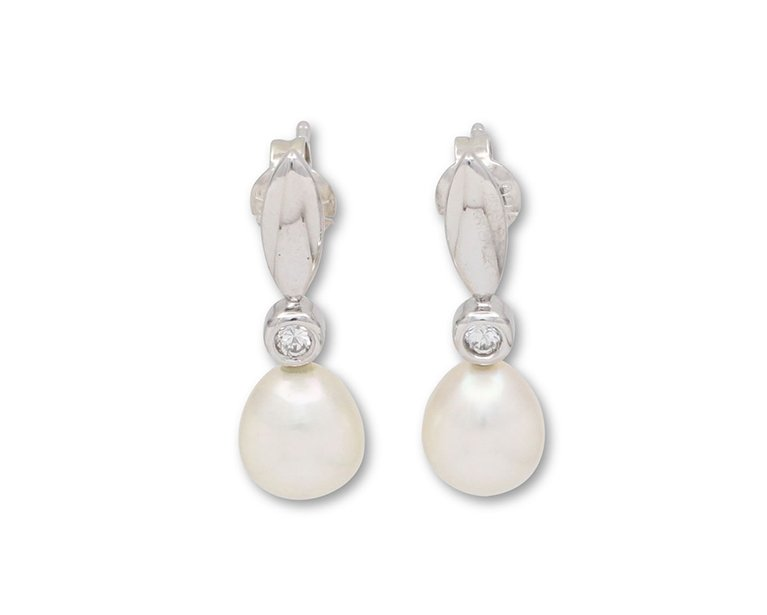 girls love pearls white fresh water pearl cubic zirconia rubbed marquise drop stud earrings