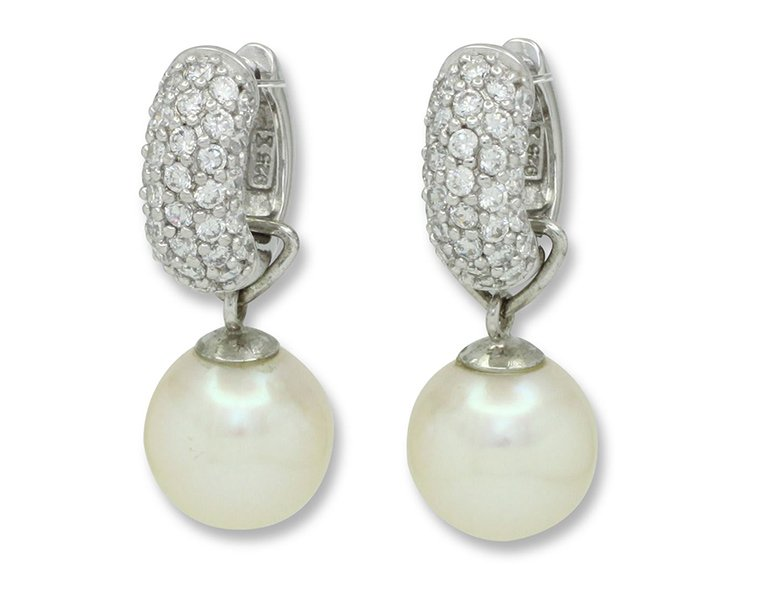 girls love pearls white fresh water pearl detachable cubic zirconia huggie earrings